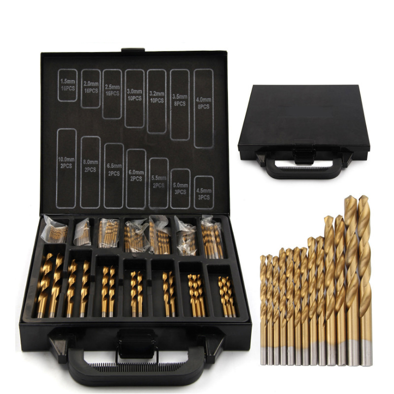цена на 99PCS HSS Twist Drill Bits Set Iron Box packing 1.5-10mm Titanium Coated Surface 118 Degree For Drilling Metal