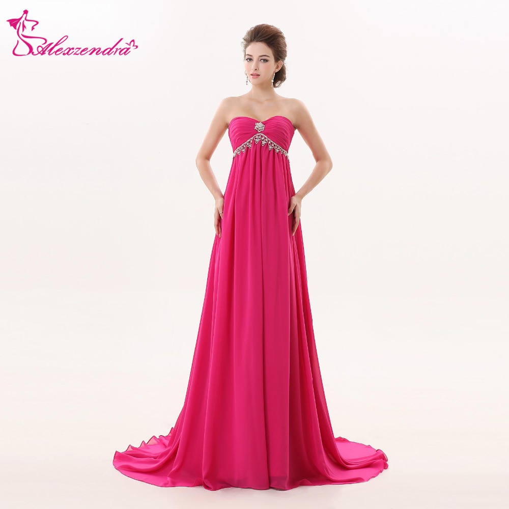 Alexzendra A Line Floor Length Hot Pink Chiffon   Prom     Dresses   Custom Made Beaded Sweetheart   Prom   Gowns Party   Dress