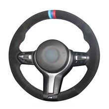 лучшая цена OLPAY Black Suede Leather Car Steering Wheel Cover for BMW F87 M2 F80 M3 F82 M4 M5 F12 F13 M6 F85 X5 M F86 X6 M F33 F30 M Sport