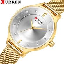 Zegarek damski CURREN Gold Slim kwarcowy siatka stalowa zegarek na rękę z paskiem, bransoletą piękne zegarki damskie z zegarem Rhinestone z wodoodpornością 30M