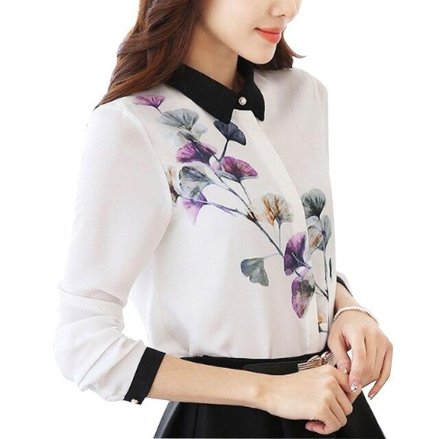 Floral Blouse Women Chiffon Shirt Print A Bit Transparent White Blouse Top Color Block Long Sleeve Plus Size S-4XL T6311