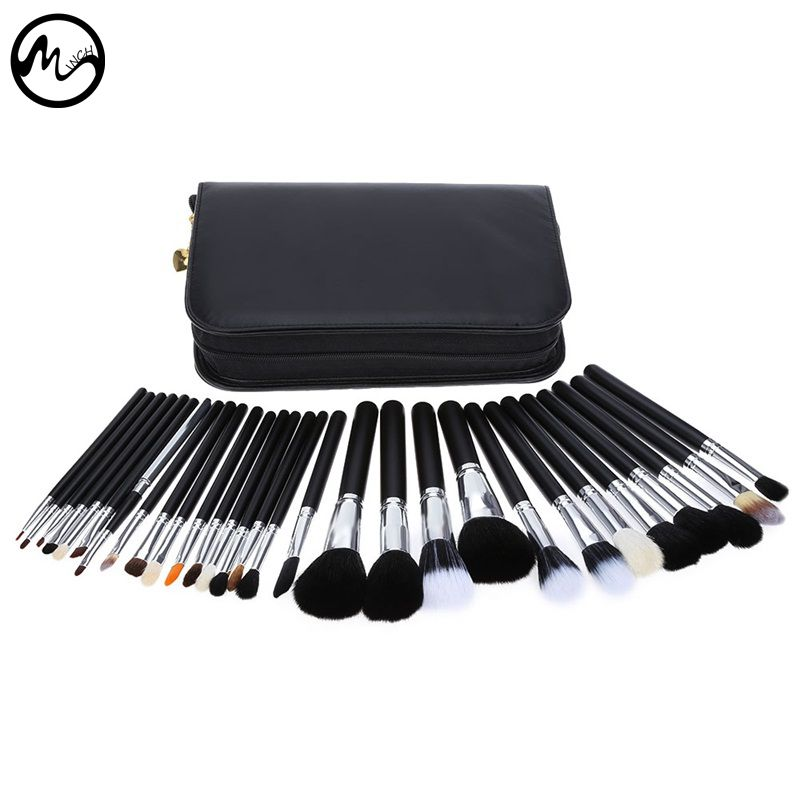 MINCH High Quality 29 Pcs Makeup Brushes Professional Face Lip Cosmetic Brush Set With Case Nature Bristle Make Up Brushes Kit nature hair makeup brush set 22pcs high quality red beauty tools kit with case