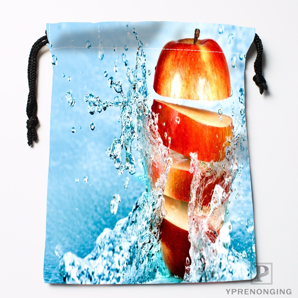 Custom Apple Cut In One Nature Drawstring Bags Travel Storage Mini Pouch Swim Hiking Toy Bag Size 18x22cm#0412-04-03