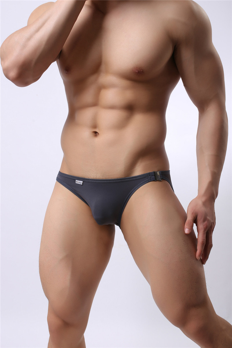 Mens Nylon Slip Small Mesh Breathable Briefs Low Rise Sexy Fashion Lock Buckle Men Bikini Underwear Briefs Brave Person 23