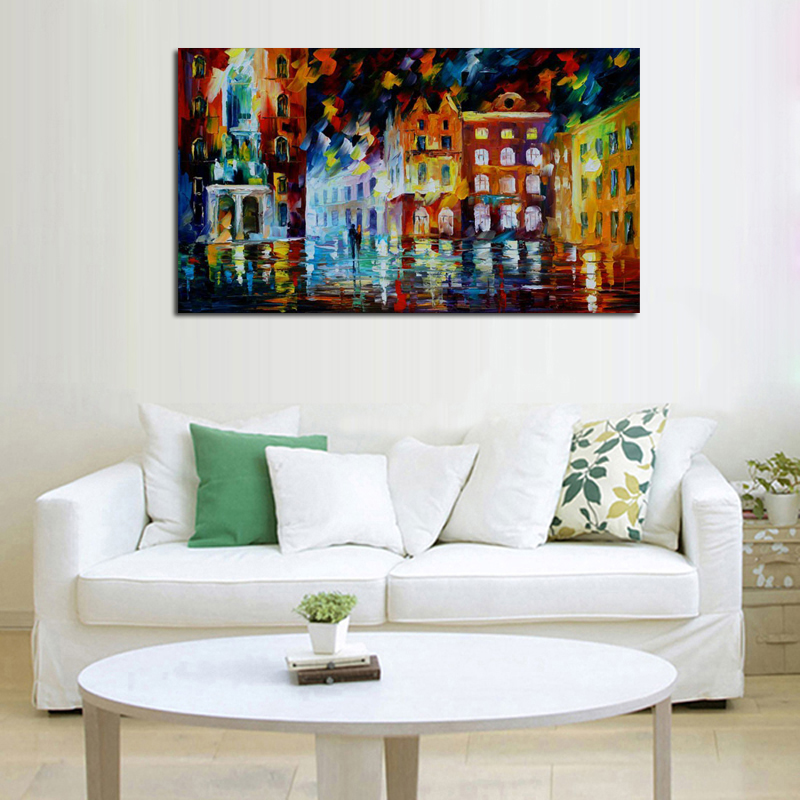 55 Free-shipping-Abstract-Golden-City-Houses-Knife-Oil-Painting-On-Canvas-City-Night-Scenery-Picture-Wall (3)