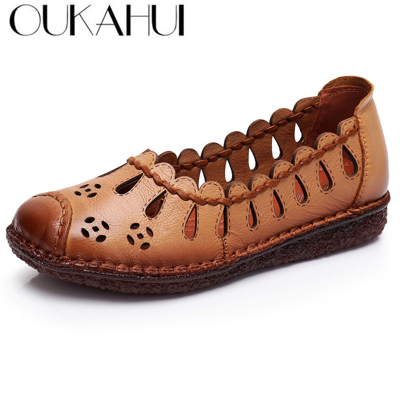 OUKAHUI High Quality Handmade Genuine Leather Shoes Women Flats Summer Hollow First Layer Cowhide Shallow Slip On Shoes Woman