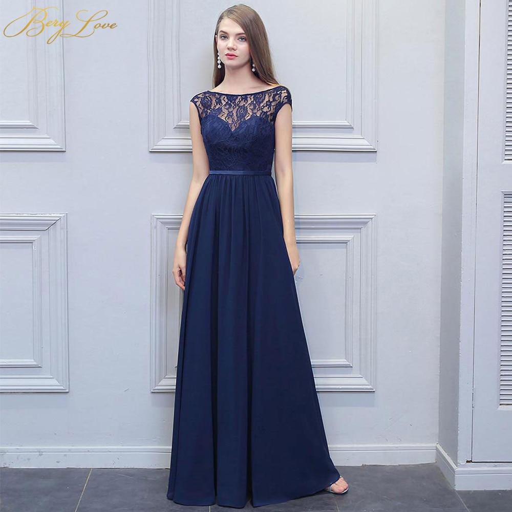 BeryLove Long Lace Navy Blue Bridesmaid