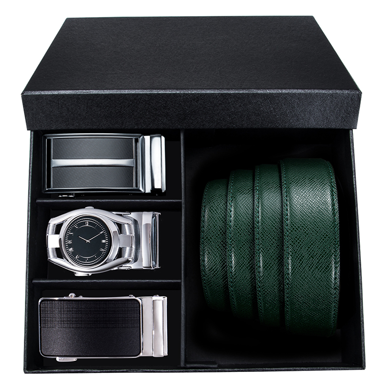 Hi-Tie New Green Leather Belt Men Male Soft Genuine Leather Automatic Buckle Belts For Men Luxury Brand Designer Gift Box Belt