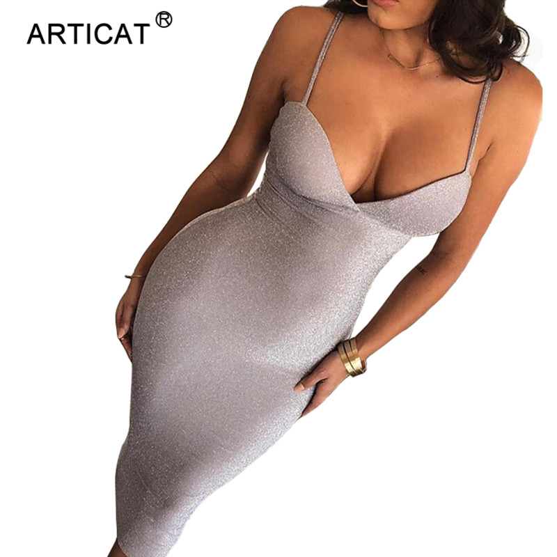 Articat White Spaghetti Strap V Neck Sexy Summer Women Dress Sleeveless Bodycon Bandage Dress Casual Long Party Dresses Vestidos