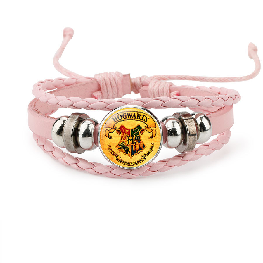 Harri Potter Magic Spell Time Gem Badge Weave Beaded Leather Action Figure Bracelet Cosplay Toy Children Gift image