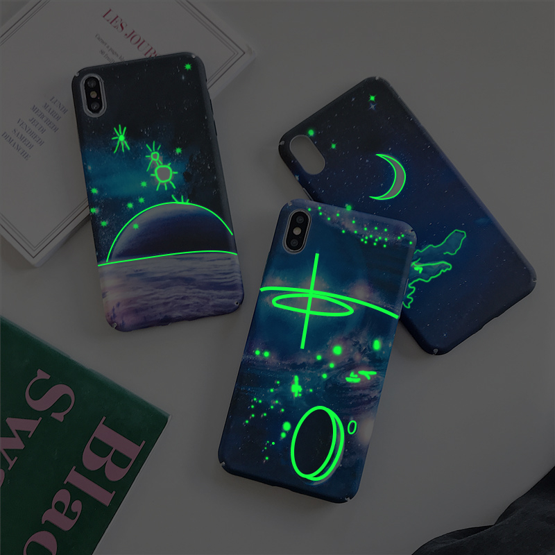 Ottwn, carcasa luminosa de lujo con diseño de Luna y espacio para iPhone 7, 6 s, 8 Plus, cielo estrellado, brillo, Galaxia, funda completa XS, Max, XR, fundas de PC duras, carcasa ¡Novedad! Increíble lámpara LED estrellada con diseño de cielo nocturno, luz de estrella, Cosmos Master, batería de regalo para niños, batería USB, luz nocturna para niños