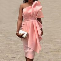 Strapless Sexy Party Dress Women Pink Ruffle Fashion Design Elegant Sweet Off Shoulder Summer Backless Bodycon Dresses Female