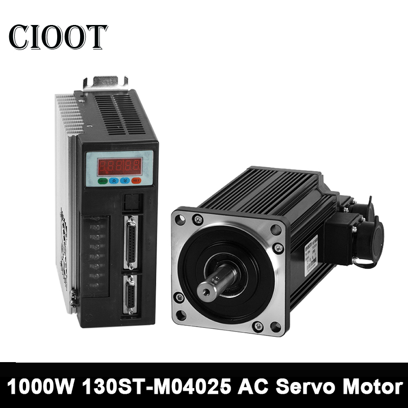 130ST-M04025 AC Servo Motor 1000w 2500RPM Three-phase Servo Motor Kits + Servo Cable + Servo Connector For Milling Tools 2 sets ac servo motor 4n m 1000w with driver and cable 80st m04025