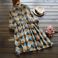Spring Autumn Vintage Dress Women Clothing Geometric Print Literary Stand Collar Long Sleeved Cotton Button Retro