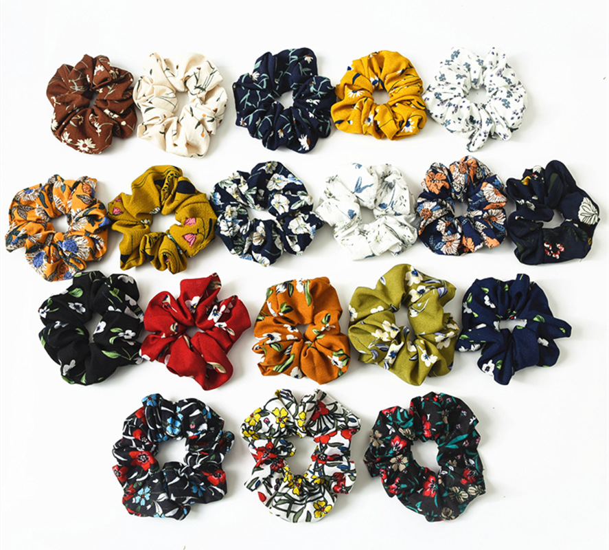 (10/12 Pieces/lot) New Large Scrunchie Floral Elastic Hair Band Women   Headwear   Hair Accessories