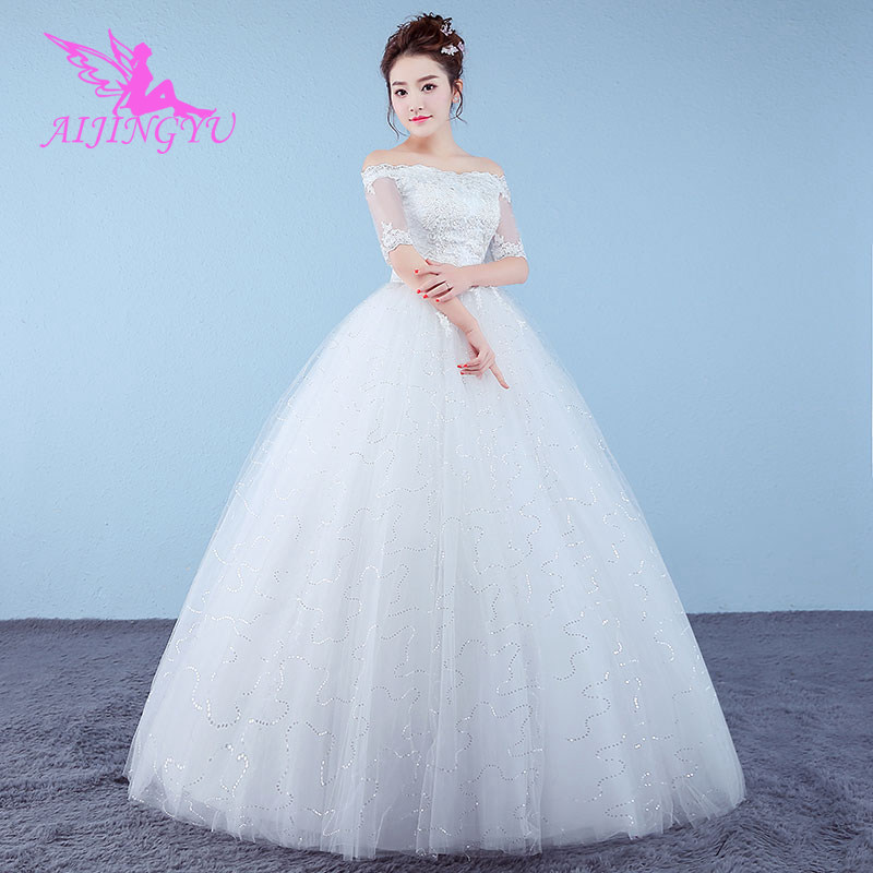 AIJINGYU 2018 Ivory Free Shipping New Hot Selling Cheap Ball Gown Lace Up Back Formal Bride Dresses Wedding Dress WK761