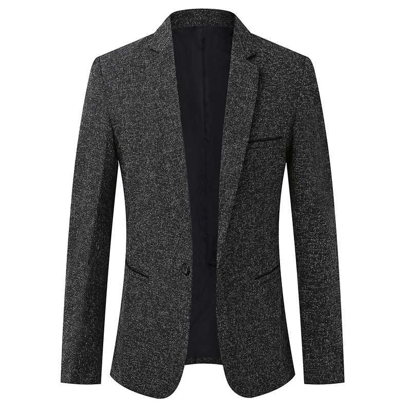 2020 nowa marka odzieżowa marynarka kurtka mężczyźni jeden przycisk Slim Fit garnitur płaszcz koreański czarna sukienka kurtka Casual Men Clothes