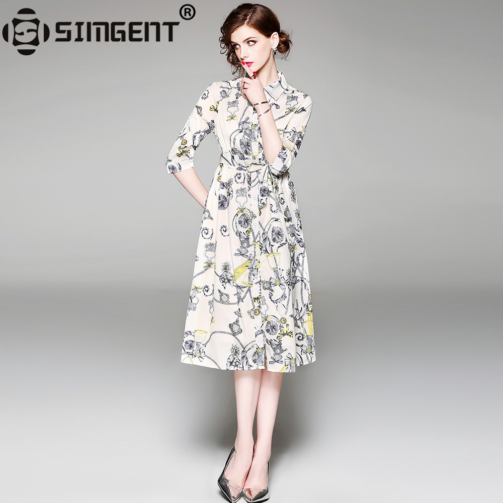 Simgent Women New Spring Summer Fashion Polo Collar Three Quarter Sleeve A Line Printing Shirt Dress Woman Cloth Jurkjes SG84105
