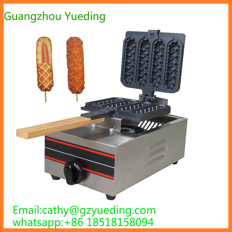 Commercial gas 4 pieces Crispy corn hot dog waffle maker non stick French Muffin sausage Machine