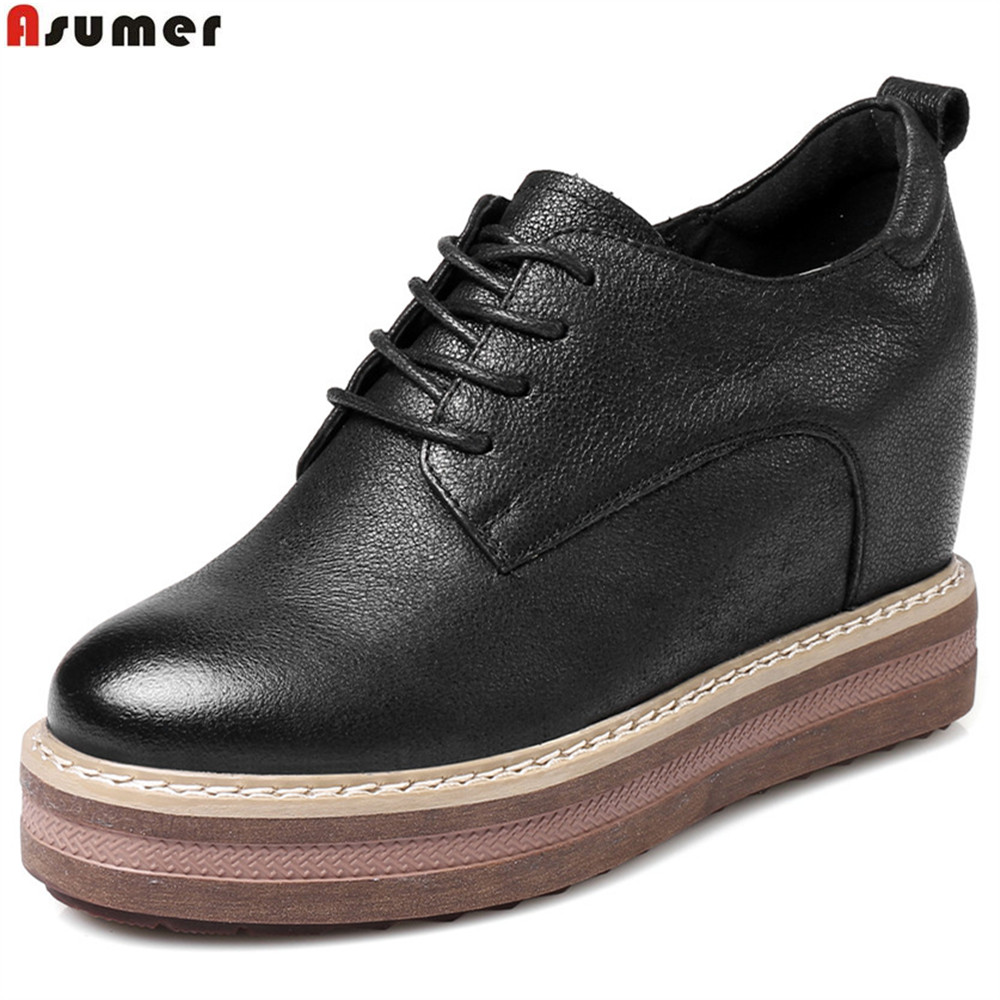 Asumer black fashion spring autumn ladies pumps round toe platform increased internal women genuine leather high heels shoes asumer white spring autumn women shoes round toe ladies genuine leather flats shoes casual sneakers single shoes