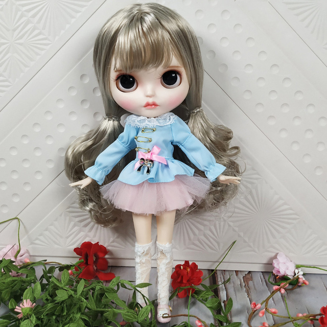 Blyth Doll 1/6 Joint Body hand painted matte face white skin Cute silver curls hair suit 30cm DIY BJD SD toys gift AB hand set