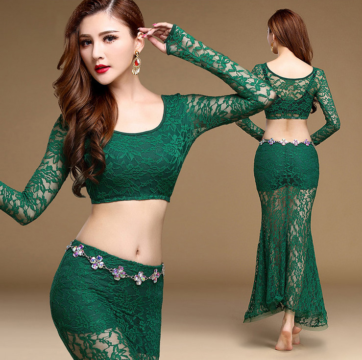 Sexy Lace Oriental Belly Dance Costume Set Crop Tops Mermaid Long Skirts for Women Indian Bellydance