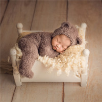 Baby Boy Outfit Fuzzy Knitted Teddy Bear Hat Footed Romper Set Crochet Newborn Overalls Brown Newborn Pajamas Baby Jumpsuit Prop