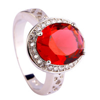 Free Shipping Wholesale Ruby Spinel White Topaz 925 Silver Ring Size 7 8 9 10 11 12 Fashion Popular New Charming Women Jewelry