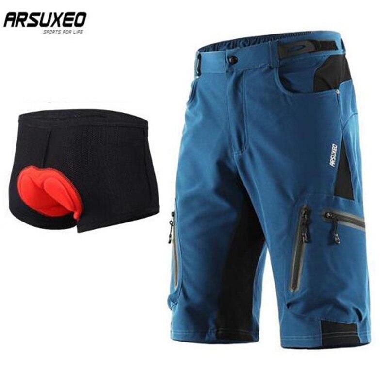 ARSUXEO Ciclismo Shorts MTB Downhill Mountain Bike Shorts Shorts Da Bicicleta Homens Esportes Ao Ar Livre Correndo Sportswear Calças Curtas