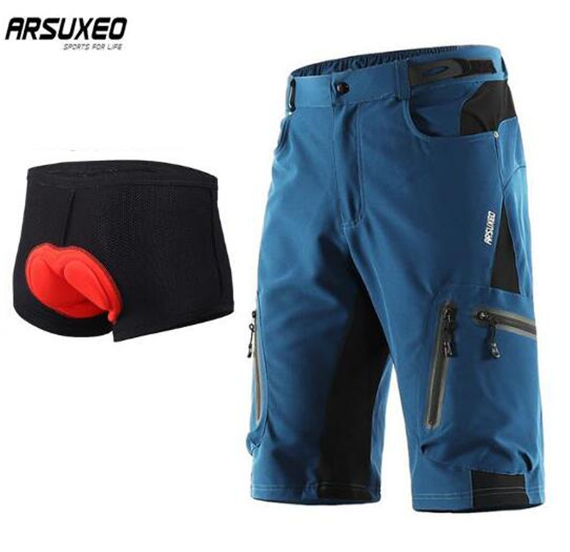 ARSUXEO Cycling Shorts MTB Downhill Mountain Bike Shorts Bicycle Shorts  Men Outdoor Sports Running Sportswear Short Pants