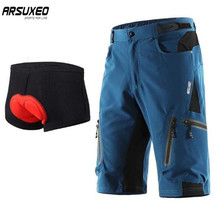 ARSUXEO Cycling Shorts MTB Downhill Mountain Bike Shorts Bicycle Shorts  Men Outdoor Sports Running Sportswear Short Pants arsuxeo 60017k outdoor cycling polyester lycra bike pants for men black dark green size l