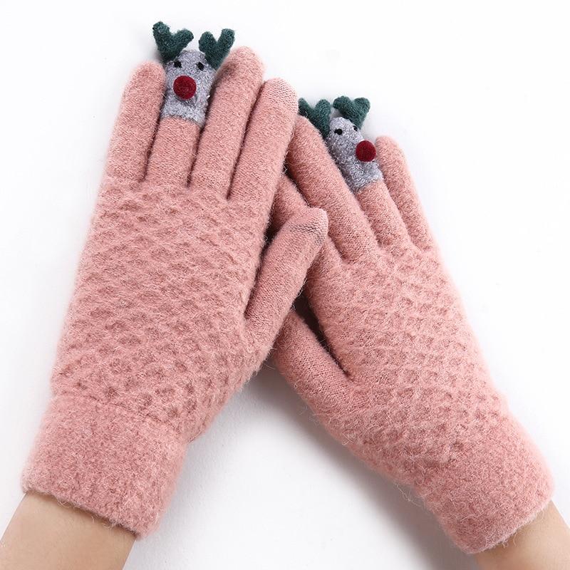 Ladies Fashion Winter Warm Cute Cartoon Finger Knit Touch Screen Gloves Women Full Finger Soft Mittens Black Gloves 18F