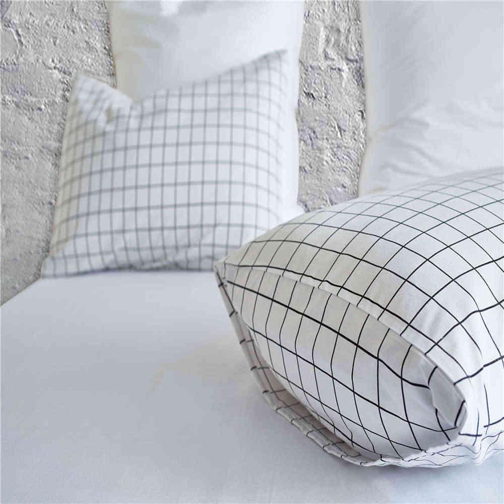Скандинавское постельное белье в клетку, Комплект постельного белья, простая мода, в полоску, белая кровать, пододеяльник, наборы, домашний текстиль, США, Великобритания размер