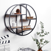Wall Mounted Iron Shelf Round Floating Shelf Wall Hanging Storage Holder Rack for Home Living Room Office Decoration