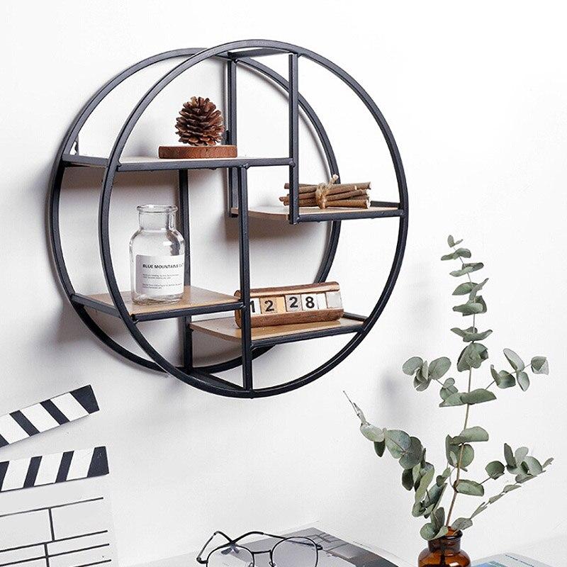 Estante de hierro montado en la pared, estante de pared flotante redondo, soporte de almacenamiento colgante, estante para decoración de hogar, sala de estar y oficina Estante de baño Sokoltec hw47885wh
