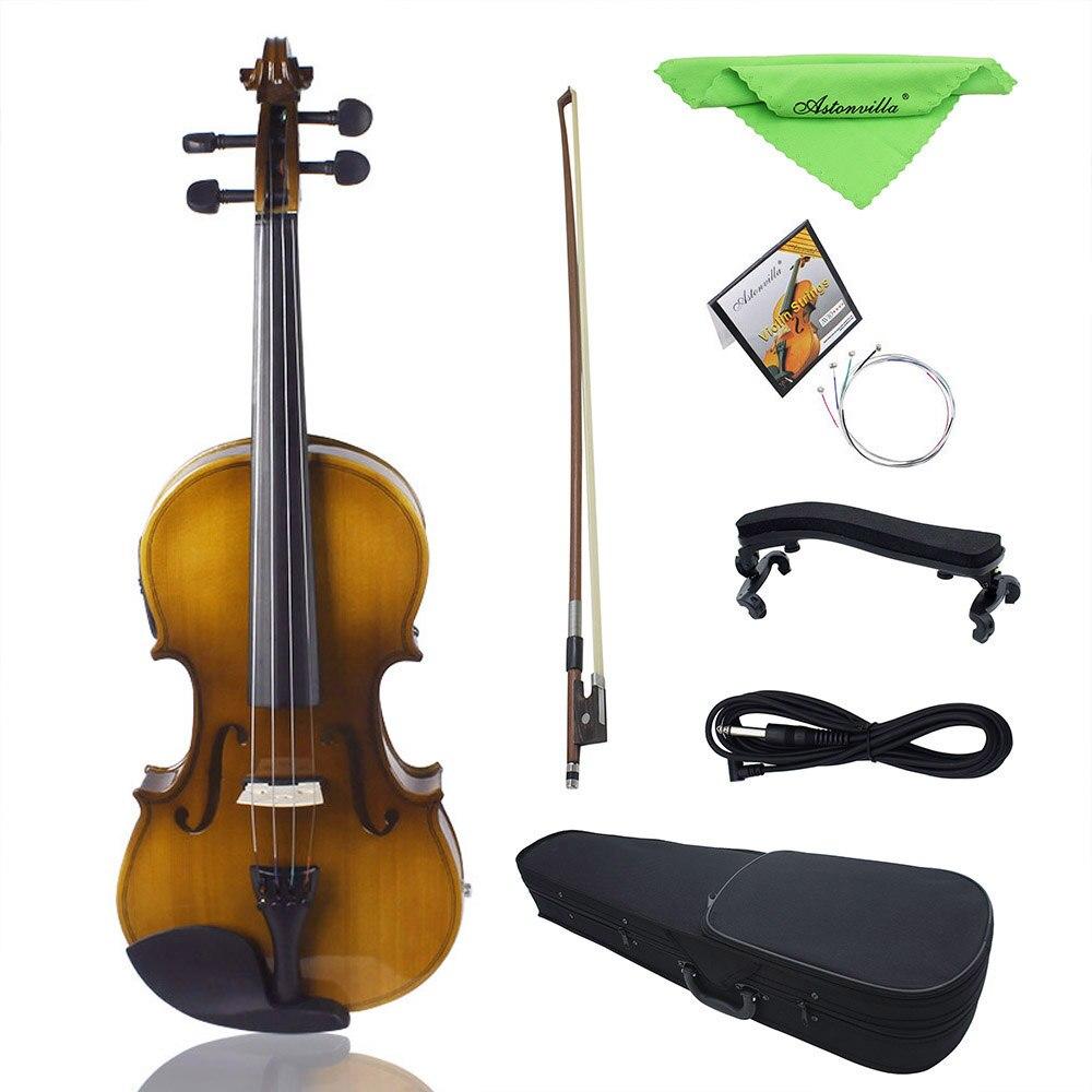 4/4 pleine grandeur violon EQ violon électrique violon Kit épicéa Face planche avec étui rigide d'arc épaulière Audio câble colophane cordes