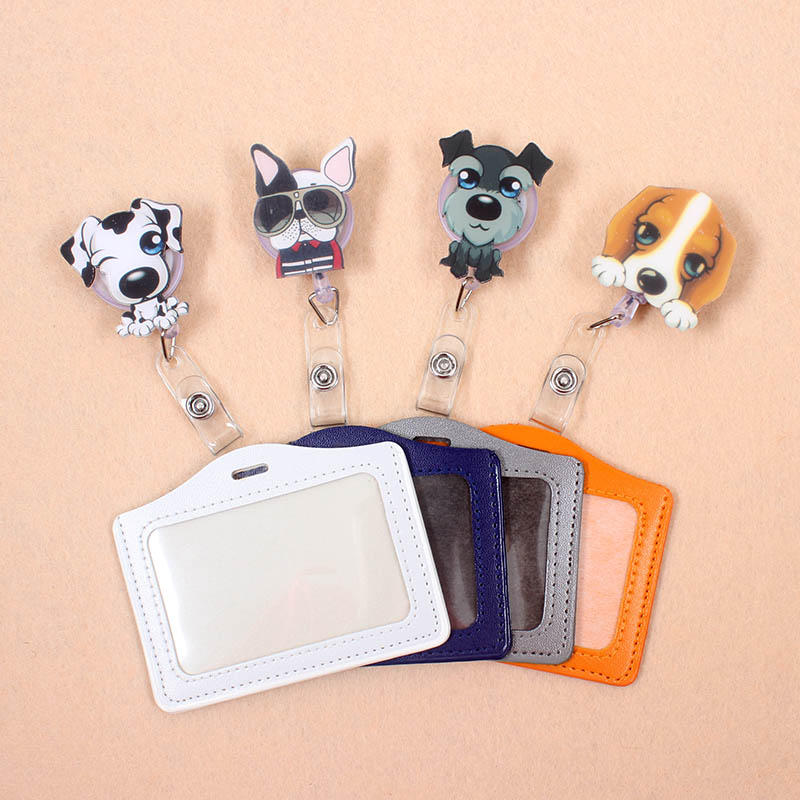 1pcs New Dogs PU Card Case Holder Bank Credit Card Holders Card Bus ID Holders Identity Badge With Cartoon Retractable Reel