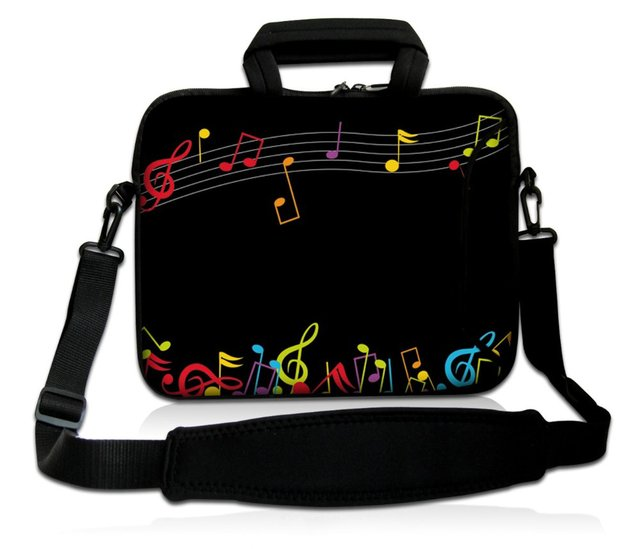 "15"" Music Note Laptop Shoulder Sleeve Bag Case+Handle,Pocket For 15.6"" Dell HP ASUS/15.5"" Sony Vaio E Series"
