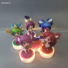 5pcs/set Cartoon Anime Action Figure Magic Girls Jinx Lux LuLu Janna Q Ver Model Base Lighting Collection Mini Doll 7cm