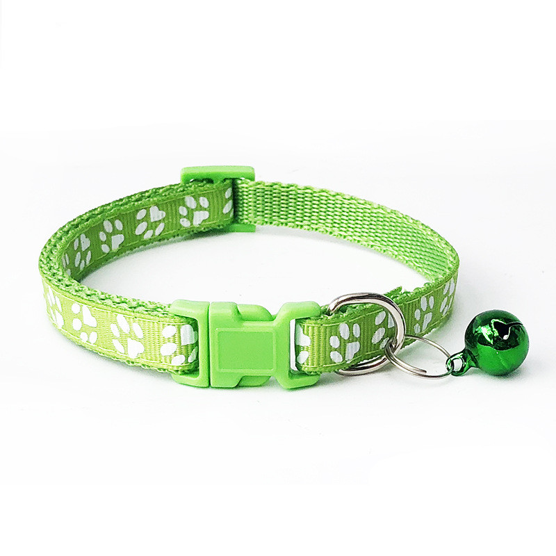 1pcs Pet Collar with Bell Lovely Small Footprint Flower Adjustable Strap Nylon Fabric Puppy Teddy Cat Kitten collier chien 3