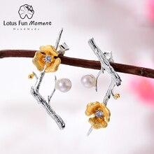 Lotus Fun Moment 925 пробы Silver Pearl Винтаж черный мотаться Модные украшения золотой цветок длинные серьги для Для женщин