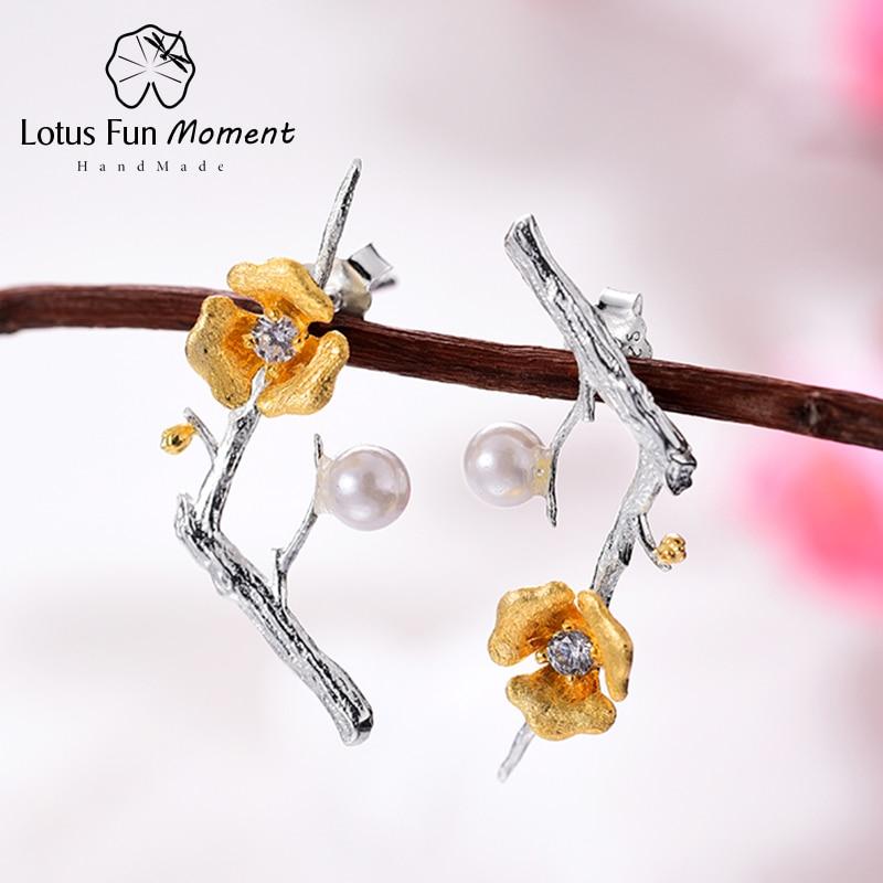 Lotus Fun momento 925 plata esterlina perla Vintage negro pendiente joyería de moda Flor del oro pendientes largos para las mujeres