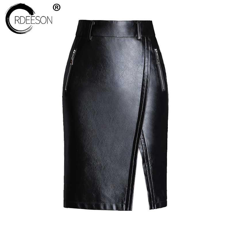 ORDEESON Saias Na Altura Do Joelho Leather Skirt Plus Size Faux Leather Winter Black High Waist Skirts Womens M-XXXL Solid Long