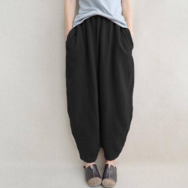 NEW 2018 Fashion Autumn Oversized ZANZEA Women Solid Elastic High Waist Pockets Trousers Cotton Linen Baggy Long   Wide     Leg     Pants