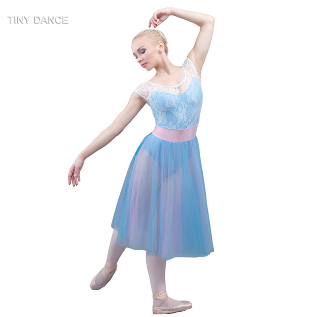 bd30da4b5 Girls and Women Lrical and Contemporary Dance Costumes Sky Blue Ballet  Dance Dress for Performance White Lace Dresses 18011