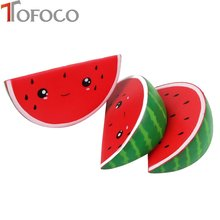 16cm Cute Expression Watermelon Squishy Jumbo Slow Rising Toys Antistress Soft Decor Cake Kawaii Squishies Fruit Squeeze(China)