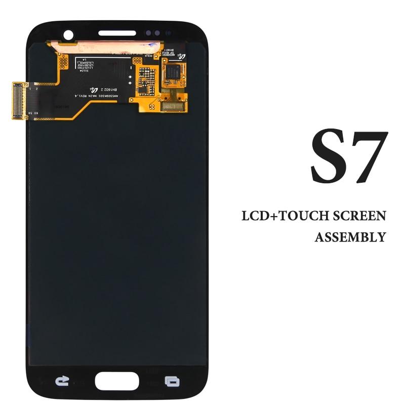 Tous testé Écran Pour Samsung s7 LCD G930F Écran Digitizer Assemblée Remplacement Super MOLED 5.1 pouce bleu blanc or lcd écran