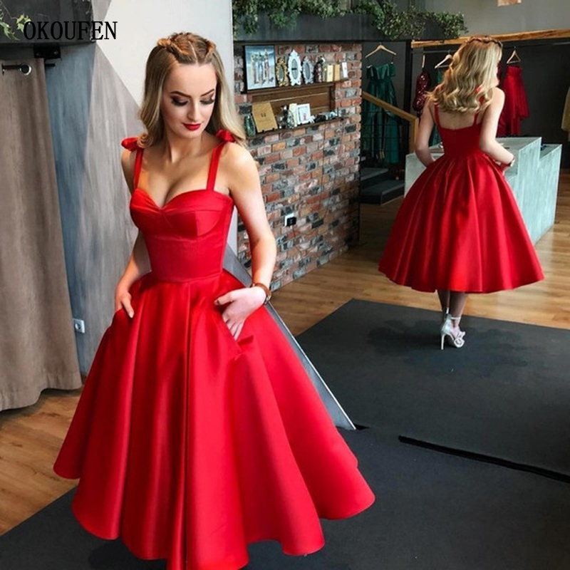 Red Ball Gown Prom Dresses 2019 Sweetheart Straps Satin Tea Length Cocktail Party Dresses Sexy Midi Vintage Vestidos De Fiesta