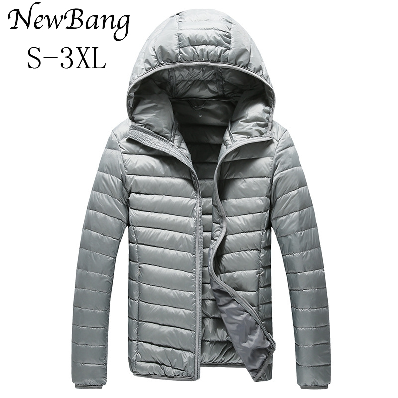 NewBang Brand Men's   Down   Jacket Ultra Light   Down   Jacket Men Warm Jackets Hooded Lightweight   Coat   Feather Puffer Parka Windproof