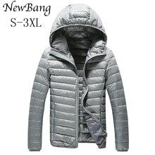 NewBang бренд Для мужчин пуховик ультра легкая зимняя куртка-пуховик Для мужчин теплые куртки с капюшоном легкие пальто перо Puffer Parka ветрозащитный